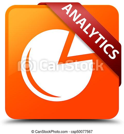 Analytics (graph icon) orange square button red ribbon in corner - csp50077567