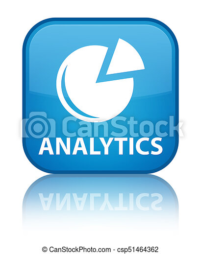 Analytics (graph icon) special cyan blue square button - csp51464362