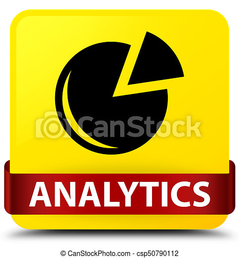 Analytics (graph icon) yellow square button red ribbon in middle - csp50790112