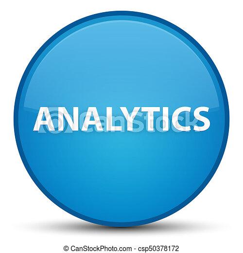 Analytics special cyan blue round button - csp50378172