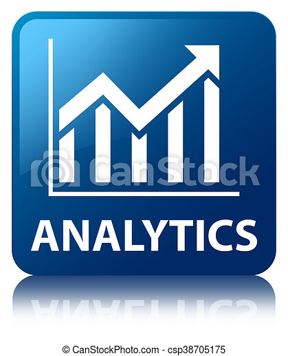 Analytics (statistics icon) blue square button - csp38705175
