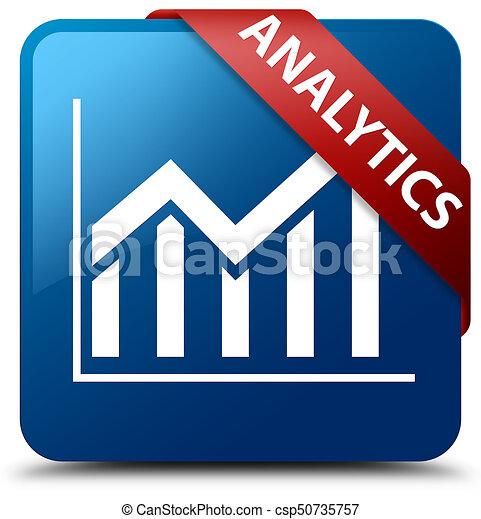 Analytics (statistics icon) blue square button red ribbon in corner - csp50735757