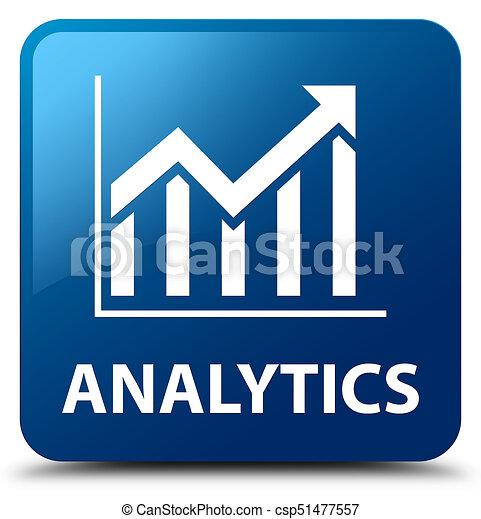 Analytics (statistics icon) blue square button - csp51477557