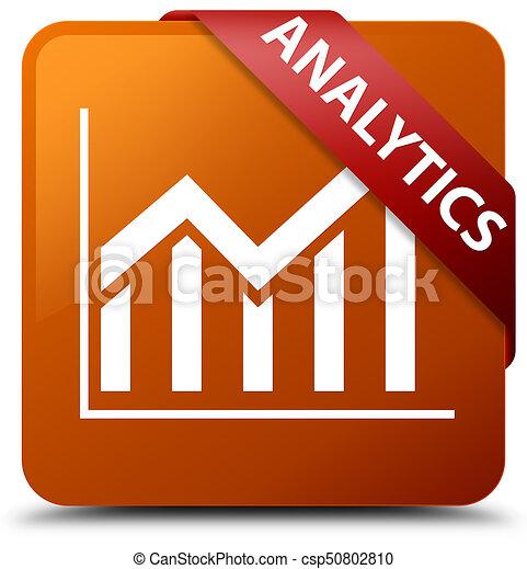 Analytics (statistics icon) brown square button red ribbon in corner - csp50802810