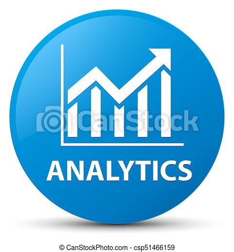 Analytics (statistics icon) cyan blue round button - csp51466159