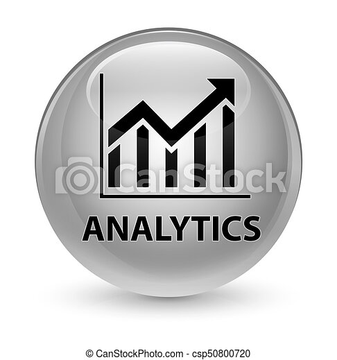 Analytics (statistics icon) glassy white round button - csp50800720