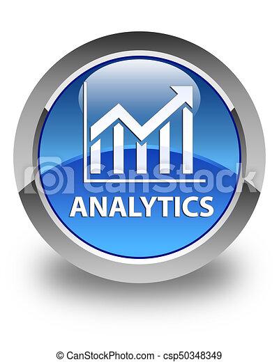 Analytics (statistics icon) glossy blue round button - csp50348349
