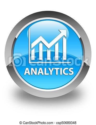Analytics (statistics icon) glossy cyan blue round button - csp50689348