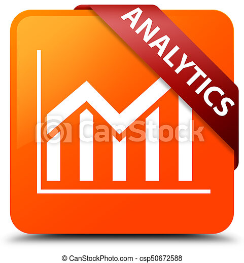 Analytics (statistics icon) orange square button red ribbon in corner - csp50672588