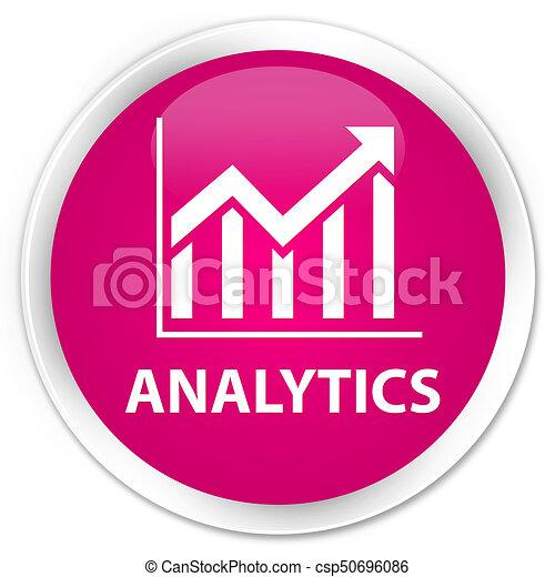 Analytics (statistics icon) premium pink round button - csp50696086