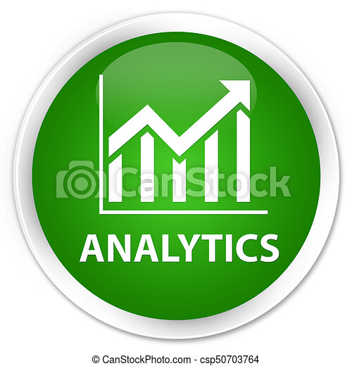Analytics (statistics icon) premium green round button - csp50703764