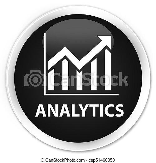 Analytics (statistics icon) premium black round button - csp51460050