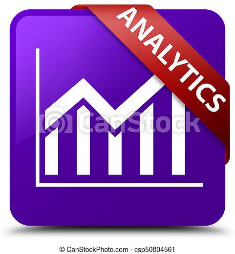 Analytics (statistics icon) purple square button red ribbon in corner - csp50804561