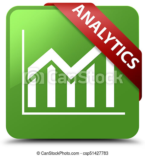 Analytics (statistics icon) soft green square button red ribbon in corner - csp51427783