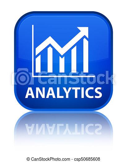 Analytics (statistics icon) special blue square button - csp50685608