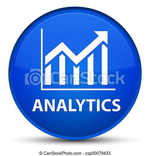 Analytics (statistics icon) special blue round button - csp50079433