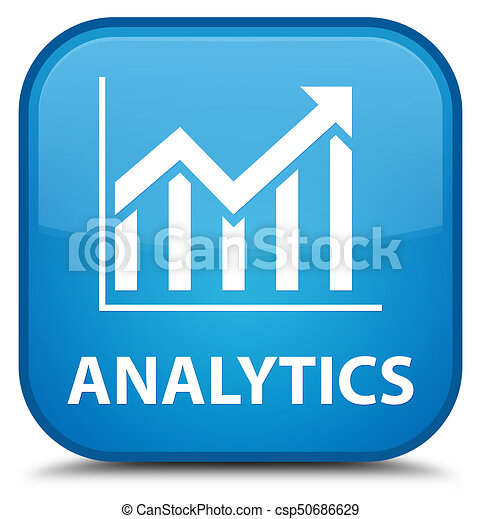 Analytics (statistics icon) special cyan blue square button - csp50686629
