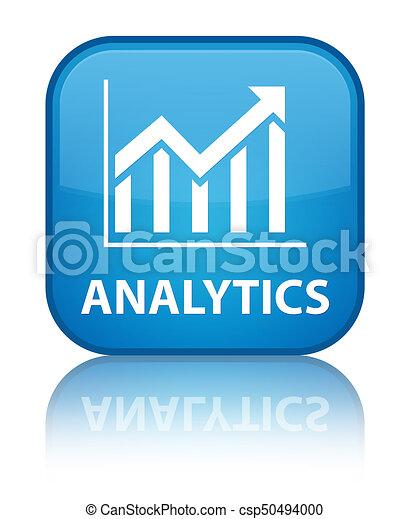 Analytics (statistics icon) special cyan blue square button - csp50494000