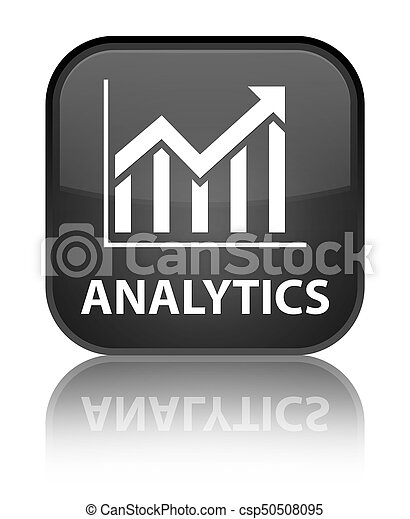 Analytics (statistics icon) special black square button - csp50508095