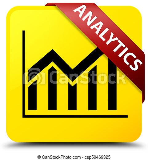 Analytics (statistics icon) yellow square button red ribbon in corner - csp50469325