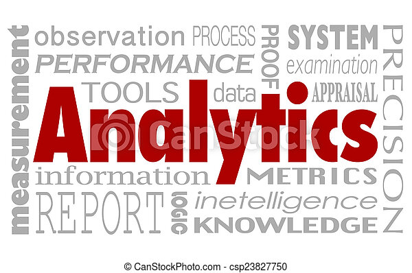 Analytics Words Collage Background Performance Measurement Metri - csp23827750