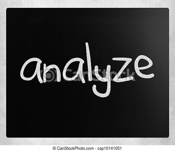 """Analyze"" handwritten with white chalk on a blackboard - csp10141051"