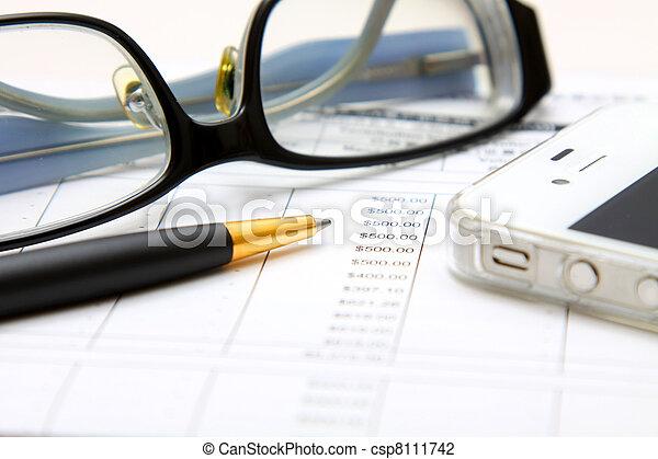 analyzing., financieel, concept: - csp8111742