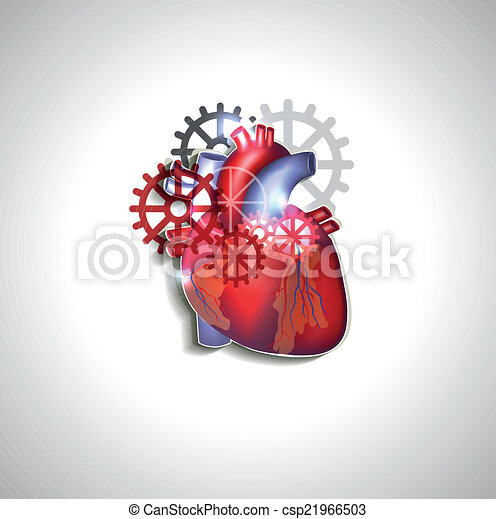Anatomie coeur engrenages humain clipart vectoriel - Coeur humain dessin ...