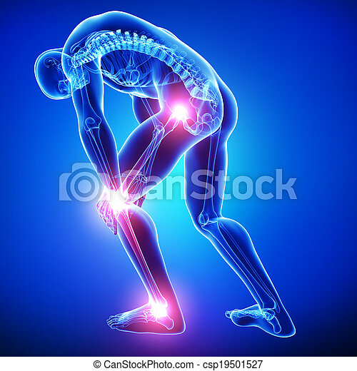Anatomy of male joint pain on blue - csp19501527