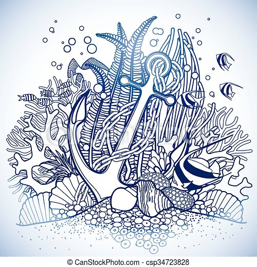 Anchor And Coral Reef Drawn In Line Art Style Ocean Fish Vector Illustration