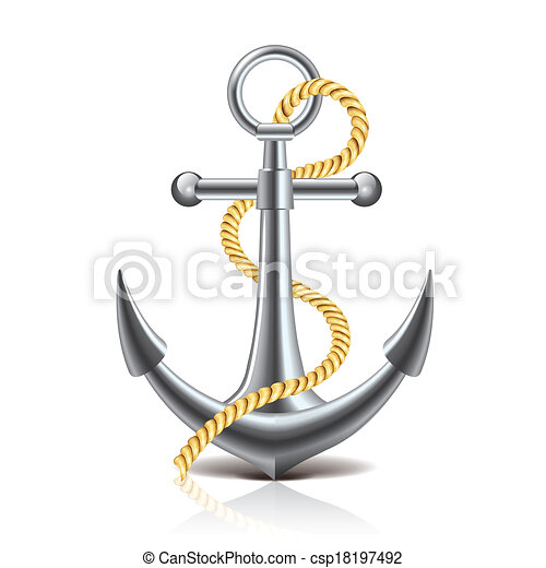 Anchor and rope isolated on white vector - csp18197492