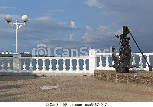 Anchor on promenade of resort Gelendzhik, Krasnodar Region - csp54674947