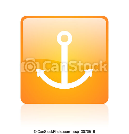 anchor orange square glossy web icon - csp13070516