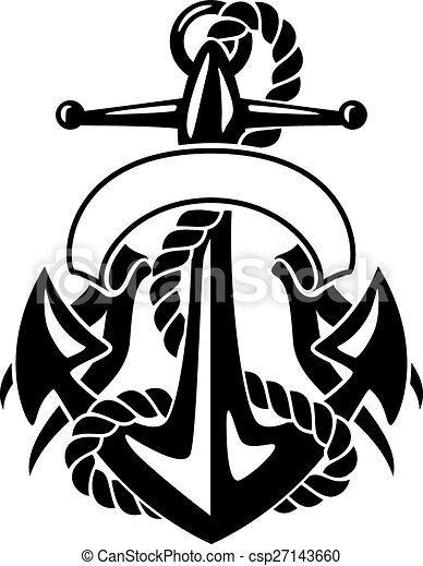 Anchor with Rope and Banner - csp27143660