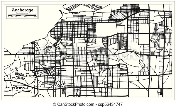 Anchorage Alaska Usa City Map In Retro Style Outline Map Vector Illustration Canstock
