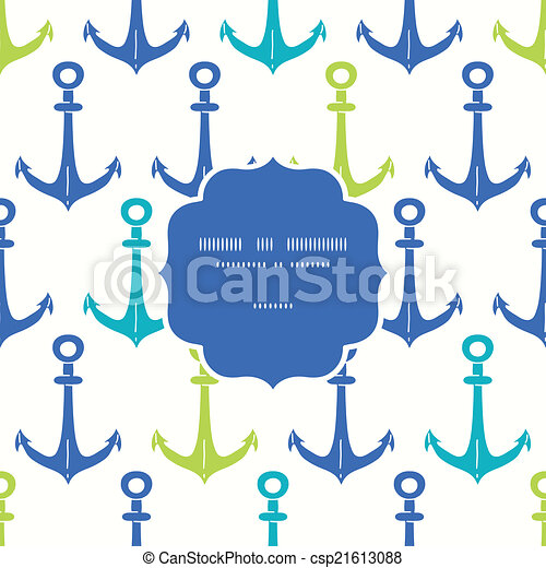 Anchors blue and green frame seamless pattern background - csp21613088