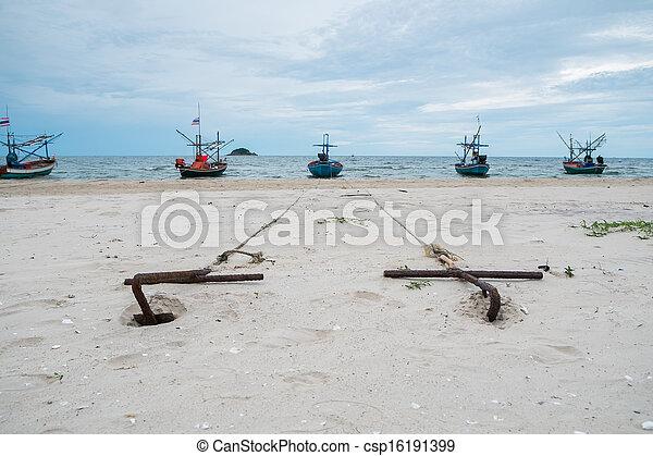 Anchors on the beach - csp16191399