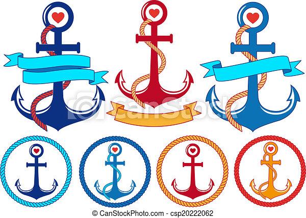 anchors with ribbons, vector set - csp20222062