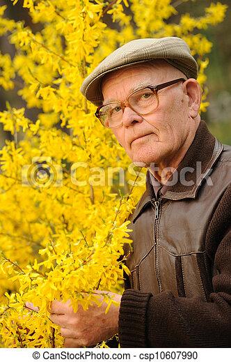 Un hombre mayor trabajando en el jardín - csp10607990