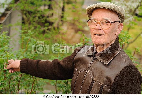 Un hombre mayor trabajando en el jardín - csp10607882