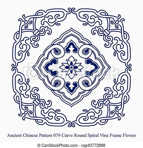 Ancien Chinois Modèle Cadre Courbe Spirale Vigne Fleur Rond