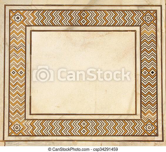 Ancien Mahal Cadre Inde Mosaïque Marbre Taj