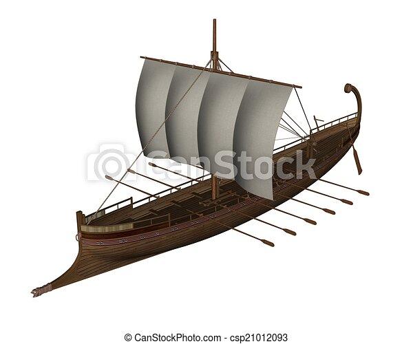 ancien, render, -, grec, bateau, 3d - csp21012093