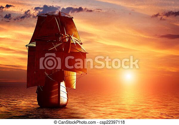 Ancien voile oc an coucher soleil bateau pirate - Voile bateau pirate ...