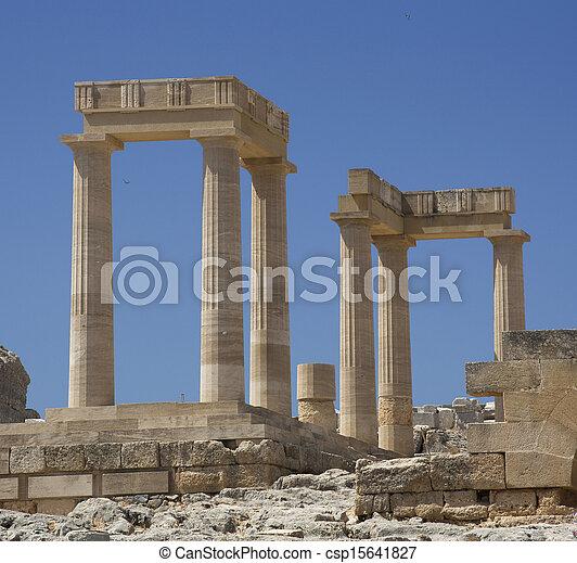 Ancient Acropolis in Rhodes. Lindos city. Greece - csp15641827