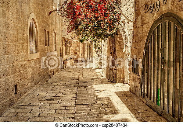 Ancient Alley in Jewish Quarter, Jerusalem.  - csp28407434