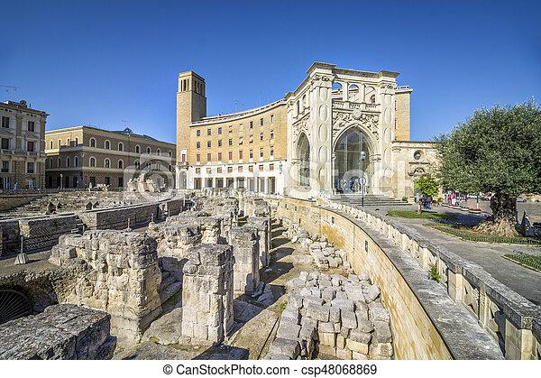 Ancient amphitheater Lecce, Puglia, Italy - csp48068869