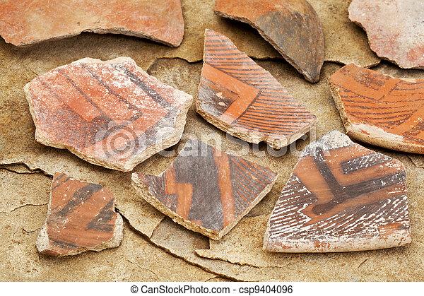 ancient Anasazi pottery shards  - csp9404096
