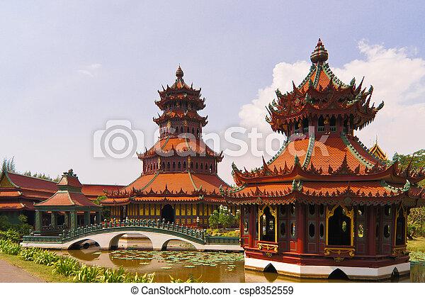 Ancient art, tourist destinations in Thailand. - csp8352559