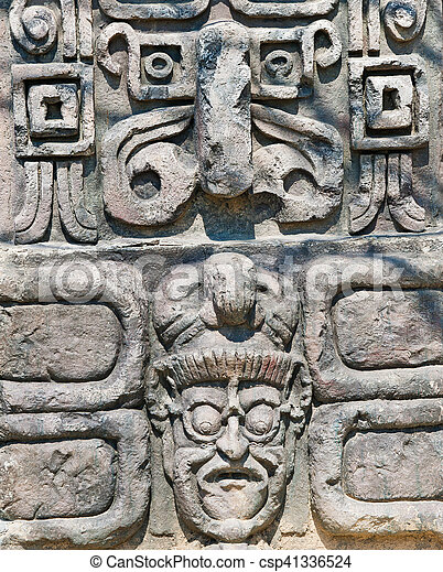 Ancient aztec stone relief background.